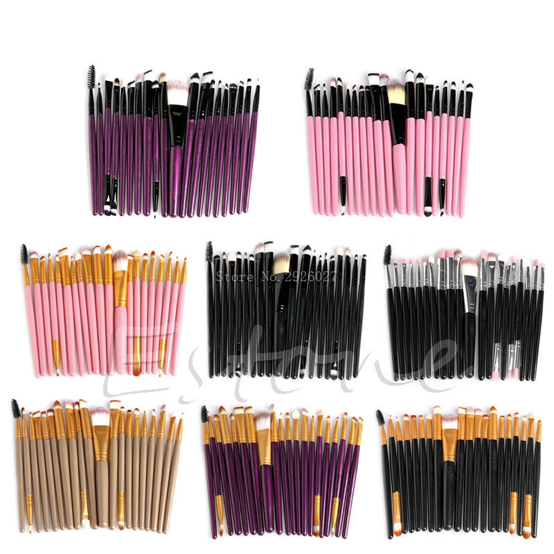 20 Pcs Cosmetic Brushes Pro Powder Foundation Eyeliner Eyeshadow Lip Makeup Set -B118 7 pcs cosmetic face cream powder eyeshadow eyeliner makeup brushes set powder blusher foundation cosmetic tool drop shipping