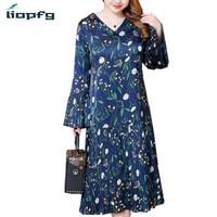2018 New Plus Size Women S Spring Summer Dresses Ladies Loose Chiffon Dress Women V Neck
