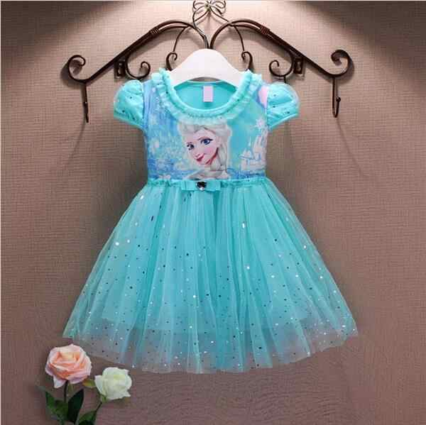 Girl Dresses Summer Baby Kid Clothes  Princess Anna Elsa Dress Snow Queen Cosplay Costume New  Years  Party Children Clothing