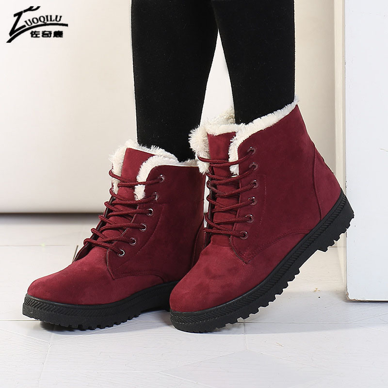 Fur Ankle Boots For Women Warm Winter Shoes Botas Mujer