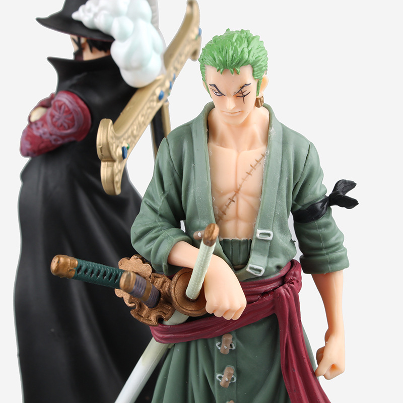 NEW hot 24cm 2pcs/set One piece Roronoa Zoro Dracule Mihawk Teacher and pupil action figure toys collection christmas new hot 17cm one piece roronoa zoro action figure toys doll collection christmas toy with box combat version suolo5