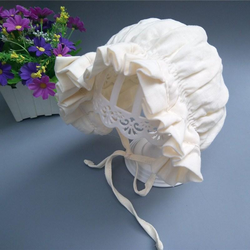 Bnaturalwell Baby Vintage Cotton Bonnet Girls White Bonnet Newborn Shower Gift Photo Prop Kids Summer Bonnet Mop Cap H210D