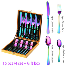16pcs Rainbow Cutlery Set in Gift box Kitchen  Dinner Set Stainless Steel Tableware Colorfull Flatware set Fork Spoon Knife set