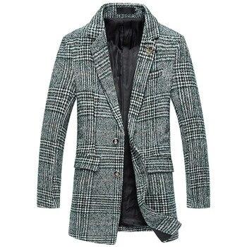 S-5XL 2019 Fashion Musim Dingin Pria Slim Fit Wol Bisnis Trench Coat/Pria High-End Fashion Merek Grid Panjang wol Mantel Jaket