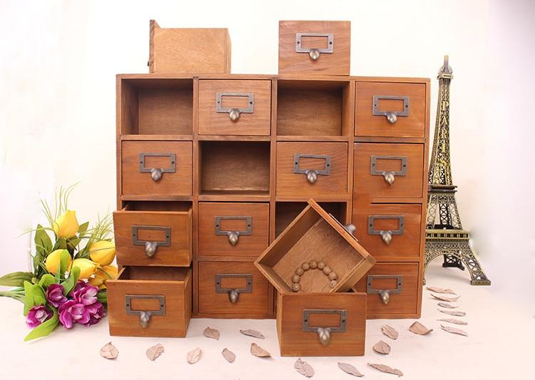 1 PC rangement ménager organisation décoration bois Vintage en bois lit mur mallette de rangement tiroir maquillage boîte de rangement EJL 0900 - 4