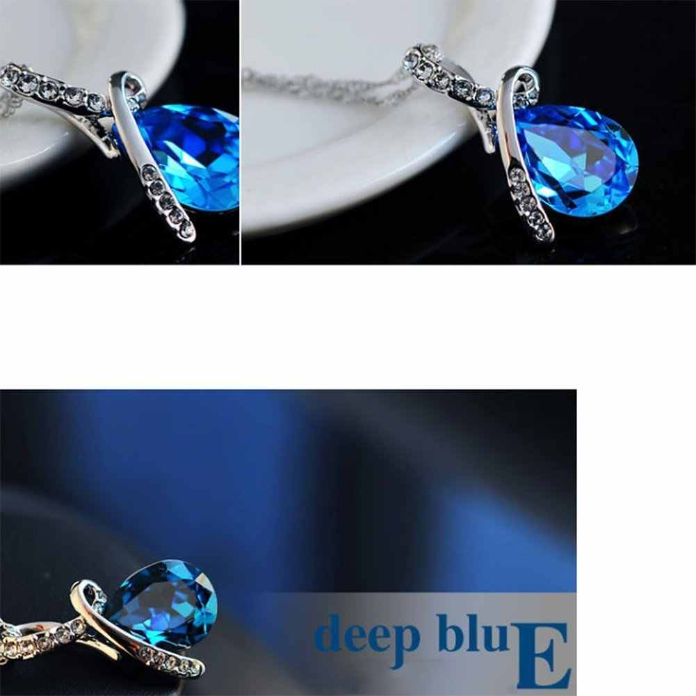 Necklace Fashion Women Elegant Silver Water Droplets Crystal Pendant Necklace