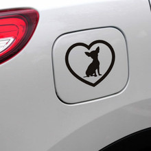 Removable Cute Chihuahua Love Heart Dog Car Sticker Window Bumper Vinyl Home Decor Wall Switch Toilet Decal Y-86