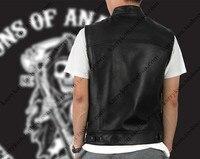 Hot Black Color Harley Motorcycle Vest Jacket Embroidery Leather Vest Black Punk Vest Cosplay Costume