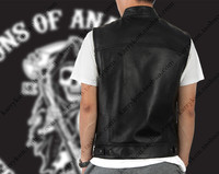 Dropshipping Sons Of Anarchy Colore Nero Harley Moto Gilet Giacca Ricamo Gilet di Pelle Nera Punk Vest cosplay