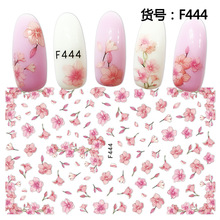 3d nail sticker F series-444 pink spring flower decals template Japan type decoration for wraps