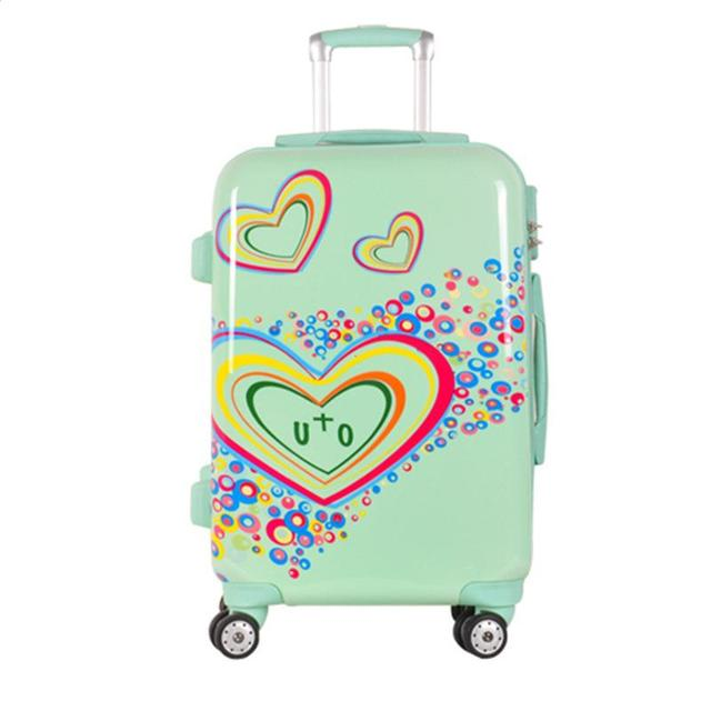 20 24inch amazing hot sales Heart pattern can ABS trolley suitcase luggage/Pull Rod trunk /traveller case box with spinner wheel