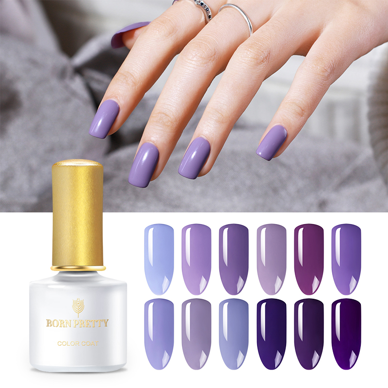BORN PRETTY Purple Series Gel Nail Polish 6ml Iris Pure Color Nail Gel Polish Manicure Purple Soak Off UV Nail Art Gel Lacquer