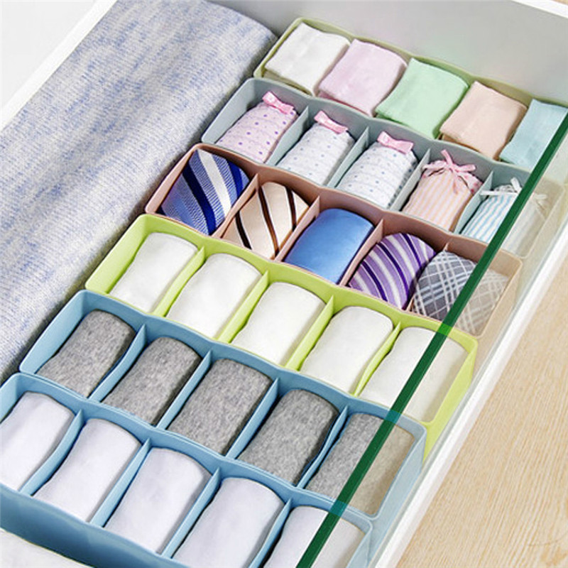 1pc Hot Storage Box 5 Cells Plastic Organizer Storage Box Tie Bra Socks Drawer Cosmetic Divider Tidy New arrival #3n15#F (2)