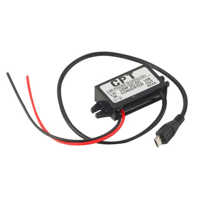 1pc High Quality Car Charger DC Converter Module 12V To 5V 3A 15W with Micro USB Cable Newest Free Shipping