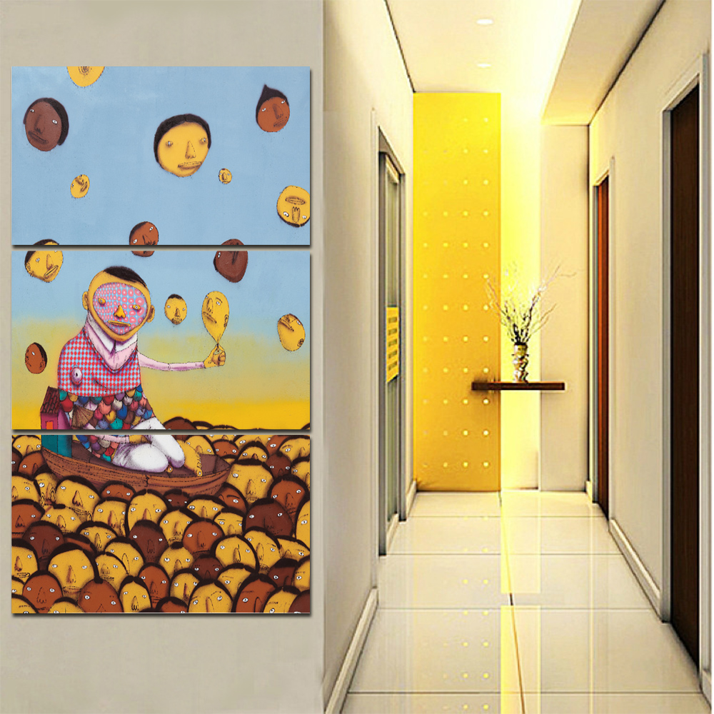 Unframed 3 HD Watercolor Canvas Painting Abstract Character Living Room Bedroom Decorative Painting Free Shipping
