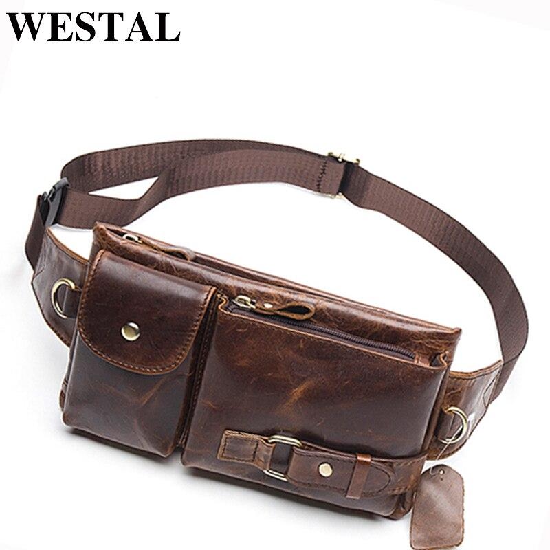 WESTAL Men's Waist Bag Genuine Leather Belt Bags Men Male Fanny Pack Travel Waist Pack Small Money Belt Pouch Hip/Bum Bags 9080