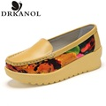 New High Quality Women Genuine Leather Flats Shoes 2016 Spring Women's Soft Driving Shoes Thick Bottom Mother Shoes size 35-40