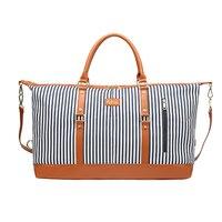 Women Stripe Adjustable Strap Travel Bag Casual Large Capacity Soft Trim Zipper Canvas Handbag Suitcase Duffel Tote Multipurpose