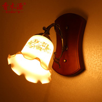 TUDA 26X40cm Free Shipping American Country Style Wall Lamp Wooden Wall Lamp For Living Room Bedroom