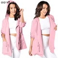 Windbreaker Women Pink Loose Hoodies Long Sleeve Coats Freah Color Autumn Blouse Coats Manteaux Femme#C905