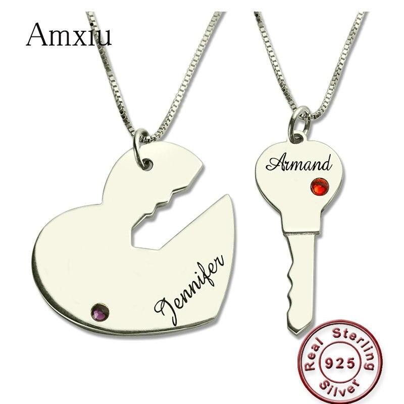 Amxiu deux pièces 925 en argent Sterling coeur clé colliers noms personnalisés pendentif collier avec pierres de naissance bijoux pour Couple cadeau