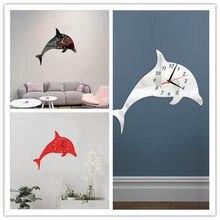 8cf2c0f4d9beb (Ship from US) Mirror Surface Dolphin Wall Sticker DIY Mirror Wall Clock  Bedroom Decor Home Decoration Wall Sticker Stickers Wall Decor 2018