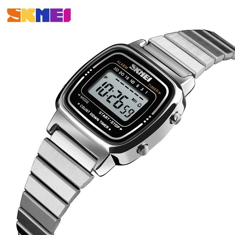 Brand SKMEI Women Watches Stopwatch Chronograph Sport Wristwatch Fashion Ladies Dress Bracelet Luxury Luminous Electronic Clock