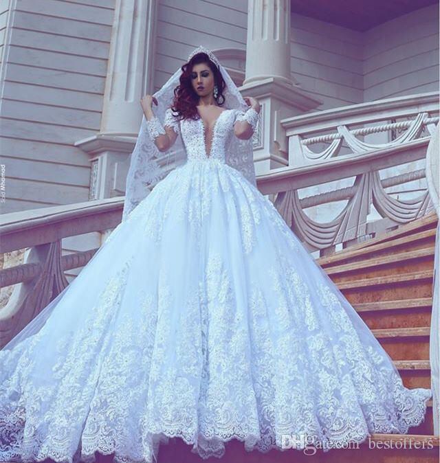 2017 White Elegant Wedding Dresses Sheer Long Sleeve Vintage Lace ...