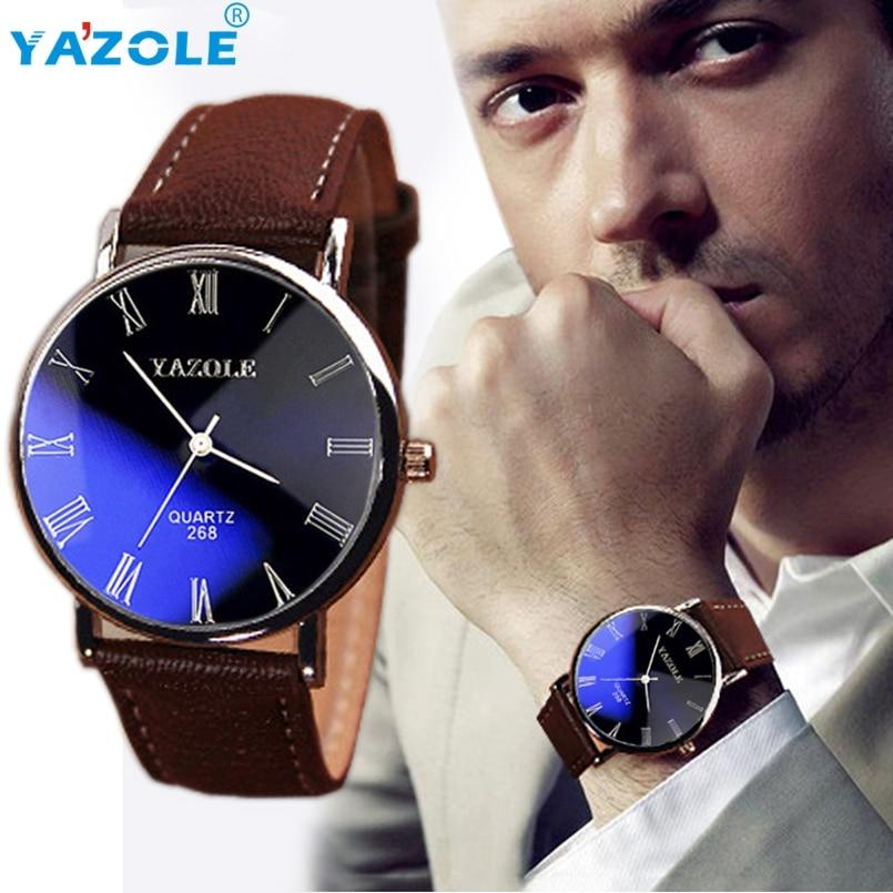 Yazole Men watch Luxury Brand Watches Quartz Clock Fashion Leather belts Watch Cheap Sports Wristwatch Relogio Males  #A623