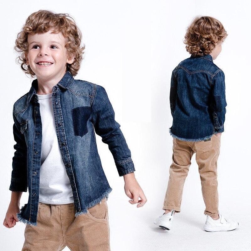 Bambini Di Stile Di Spessore Camicette Stile Europeo E Americano Solido Denim Di Cotone Del Ragazzo Camicette Abbigliamento Rimozione Dell'Ostruzione