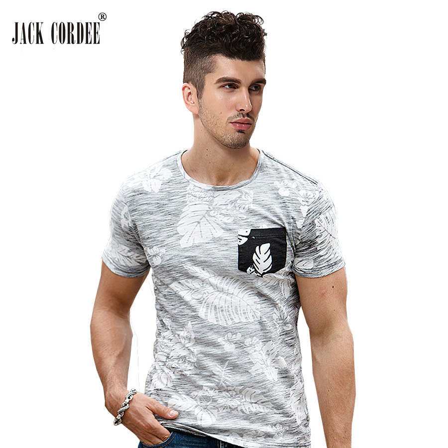 Jack cordee 2017 summer t shirt men plant print designs for Mens slim hawaiian shirt