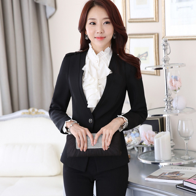 Pantalones Mujer Selling Suits Real 2016 Winter Dress Overalls Lady Occupation Suit Sleeved Slim Business With The Interview