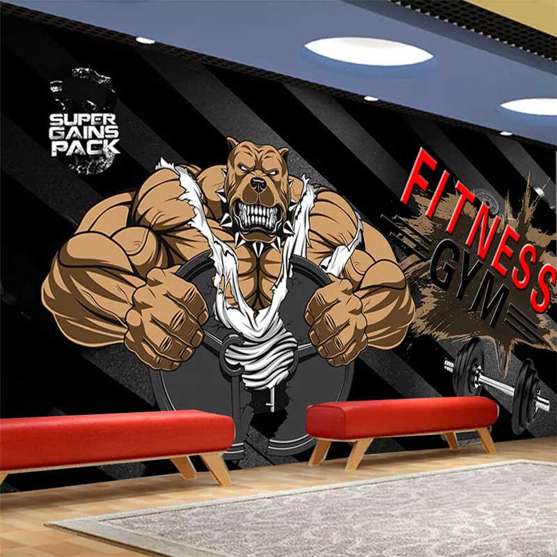 Beibehang Custom wallpaper black background bodybuilding bear gym  background wall custom large mural green wallpaper Mural