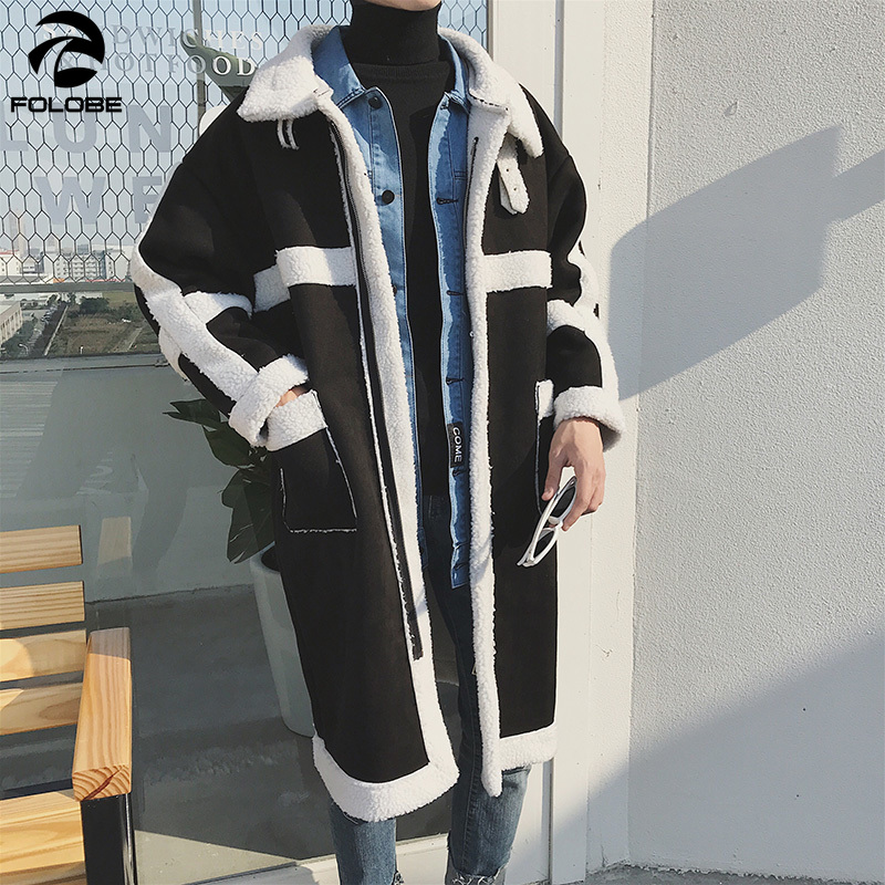 FOLOBE Men Warm Winter Jacket Immitation Lamb Fleece Coat Men Trench Sherpa Coat Men Oversizemens Coat Manteau Long Homme