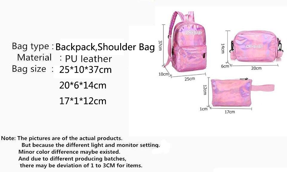 HTB11pG8bBGE3KVjSZFhq6AkaFXaB Yogodlns 2019 Holographic Laser Backpack Embroidered Crybaby Letter Hologram Backpack set School Bag +shoulder bag +penbag 3pcs
