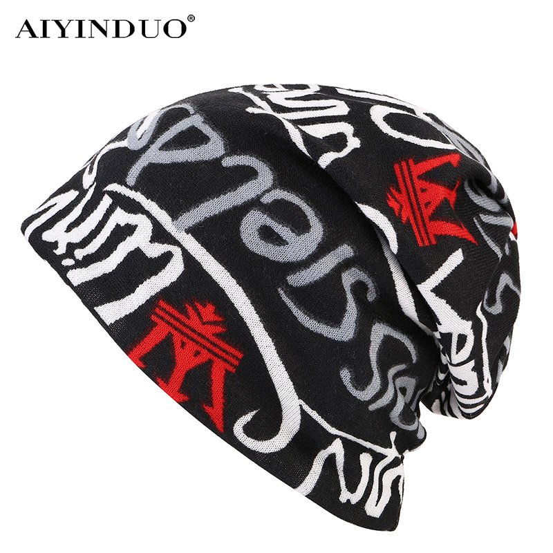 AIYINDUO hot sale 2017 new brand men women Hat Unisex Warm Winter knitted hat Fashion cap Hip-hop Beanie chapeu letter print cap rwby letter hot sale wool beanie female winter hat men