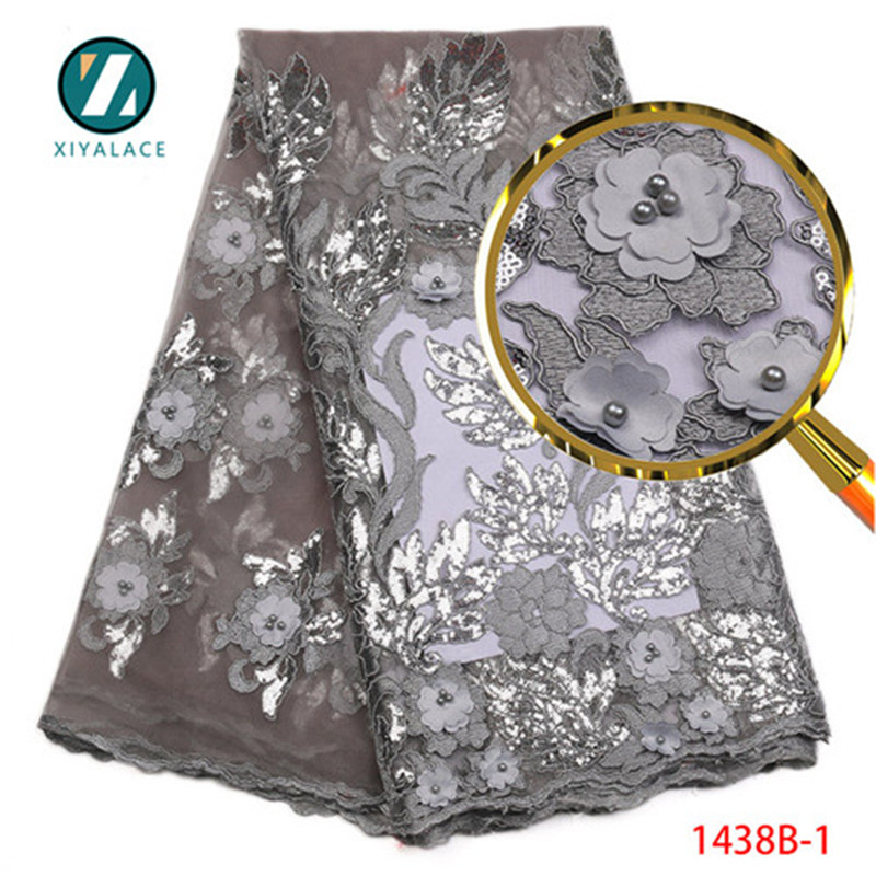 African Lace Fabric 2018 High Quality Lace Nigeran Gray 3d Lace Applique With Sequins Embroidery Fabric
