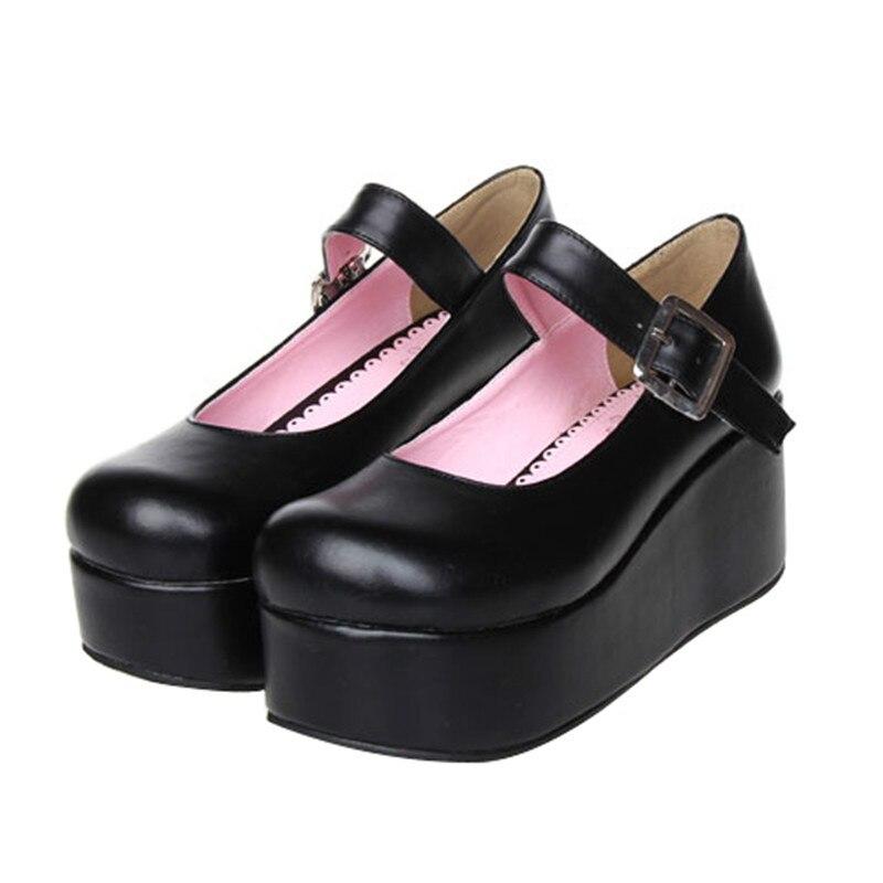 Princesse douce lolita chaussures Japonais Princesse Lolita poupée tête printemps LOLITA chaussures avec plate-forme unique chaussures pu8029