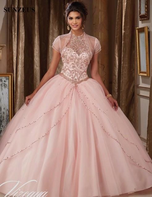 Halter Púrpura Vestidos de Quinceañera Apliques de Perlas Deslumbrantes Vestidos de Sweet Sixteen vestidos de quinceañeras Espalda Abierta Chaqueta S831
