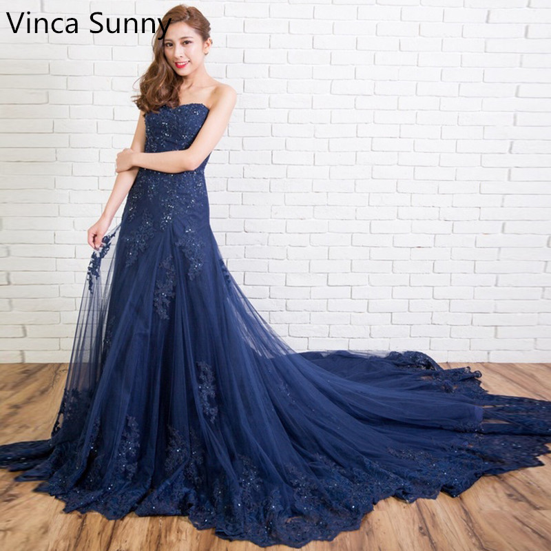 Vinca Sunny 2019 New Fashion Robe de Soiree Long Prom   Dresses   Sexy Strapless Beading Tulle Formal   Evening     Dress   Party Gowns