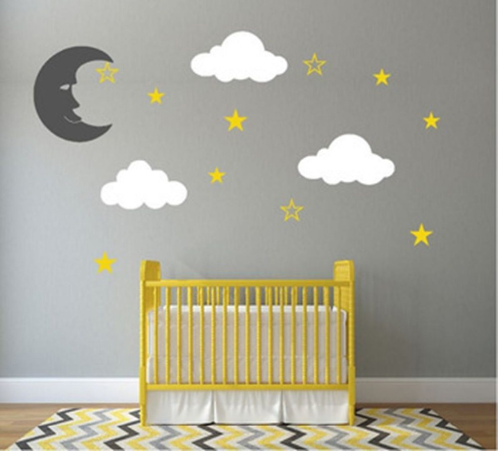 compare prices on girls wall decals online shoppingbuy low price  - custom personalised moon stars vinyl diy wall decal sticker nursery boysgirls bedroom baby wall decals