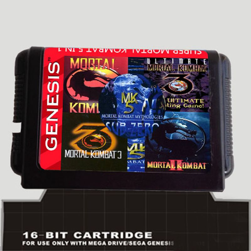 5 In 1 Game cartridge With Mortal Kombat 1 2 3 4 5 for 16 bit sega Megadrive Genesis Game player