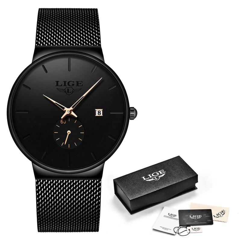 LIGE, модные часы, повседневные, водонепроницаемые, кварцевые, мужские часы, лучший бренд, Роскошные, ультра-тонкие, спортивные часы, Relogio Masculino - Цвет: Black rose