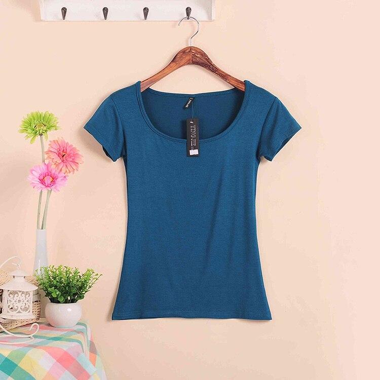 Базовые Стрейчевые топы размера плюс,, Летний стиль, короткий рукав, футболки для женщин, u-образный вырез, хлопок, женские футболки, повседневные футболки - Цвет: W00630 denim blue