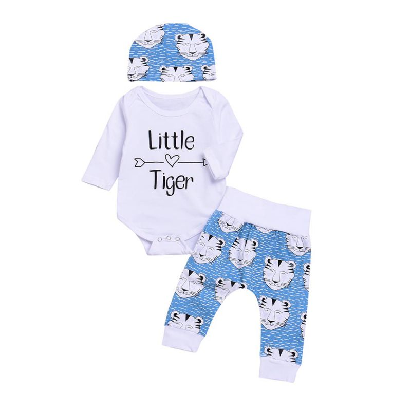 New Fashion Newborn Baby Boys Girls Printing Clothing Hot Sale Kids Costume Romper + Cartoon Tiger Pants Hat 3 stks Clothing Set