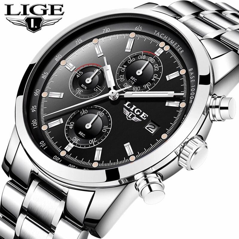 LIGE Watch Men Fashion Sport Quartz Clock Mens Watches Top Brand Luxury Full Steel Casual Military