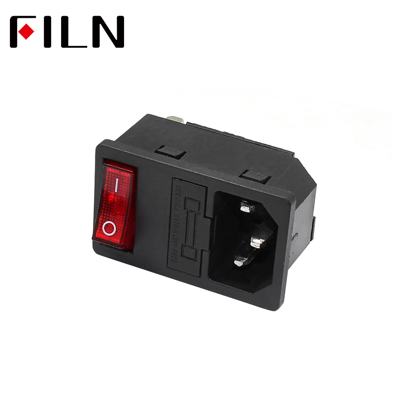 New Integral Red Light 10A 250VAC Rocker Switch Power Rocker Fused IEC 320 C14 Inlet Socket 3pin Connector Plug 10A fuse(China)