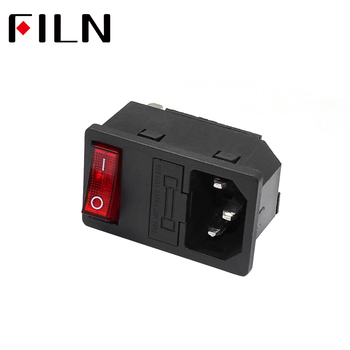 New Integral Red Light 10A 250VAC Rocker Switch Power Rocker Fused IEC 320 C14 Inlet Socket 3pin Connector Plug 10A fuse black iec320 c14 inlet module plug switch male power socket w 2 pin switch