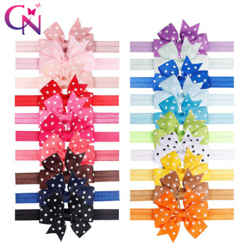20 Colors 20 Pcs Kids Headband Hairband Elastic Wave Point Bowknot Photography Dots Hair Band For Girl Children Hair Accessories