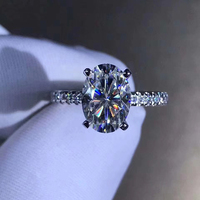 14K White Gold 925 Sterling Silver Ring 2ct Carat Oval Cut GH Color 18K Luxury Diamond ring jewelry Moissanite Ring